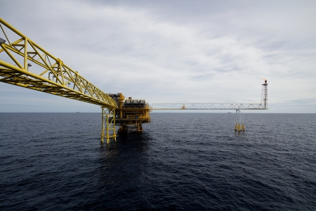oil platform: rigs tower with fire in the Gulf of thailand
