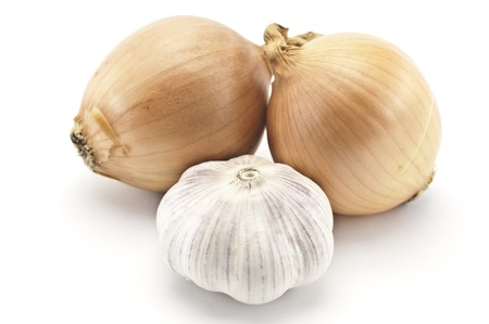 onions: Garlic and onions on a white background Stock Photo