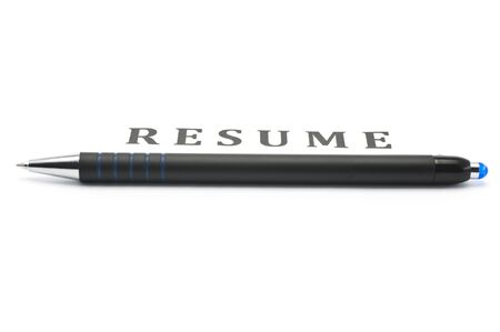 Black pen on the blank resume photo