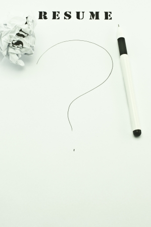 White pen on the blank resume photo