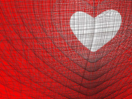 white heart on red background Stock Photo - 9663505