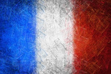 Grunge textured France flag