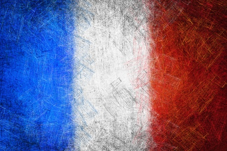 bandera francia: Grunge textura bandera de Francia Foto de archivo