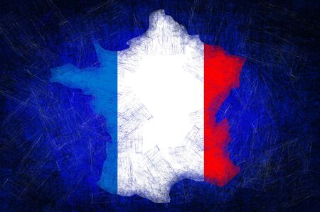 Grunge textured France flag photo
