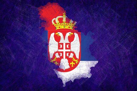 Grunge textured Serbia flag photo