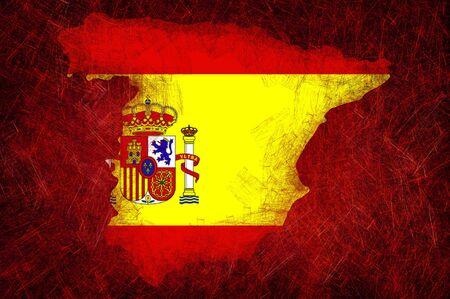 Grunge textured Spain flag photo