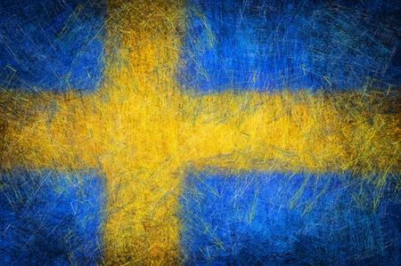 Grunge textured Sweden flag photo