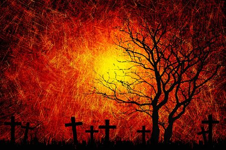 Grunge textured Halloween night background photo