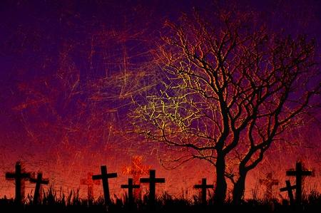 Grunge textured Halloween night background