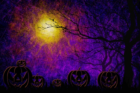 spooky eyes: Grunge textured Halloween night background
