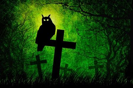 Grunge textured Halloween night background photo