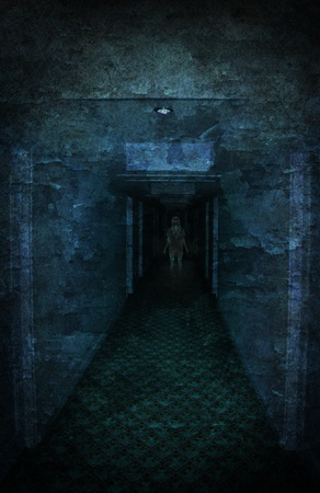 Young woman lost in spooky dirty corridor