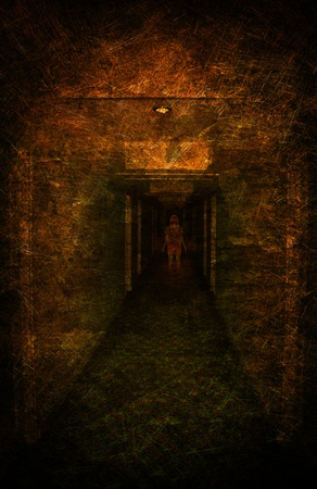 Young woman lost in spooky dirty corridor Stock Photo - 10731062