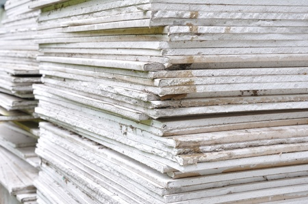 Stacking of gypsum sheets photo