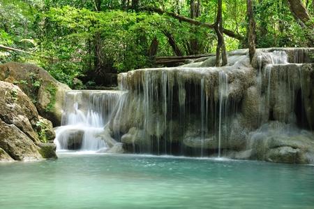 Eravan Waterfall, Kanchanabury, Thailand Standard-Bild