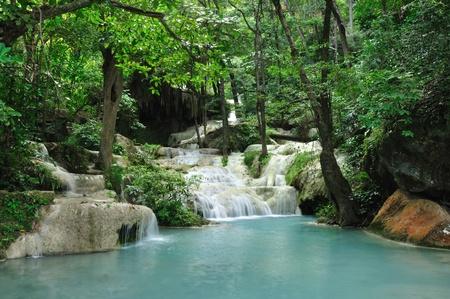 Eravan Waterfall, Kanchanabury, Thailand Stock Photo