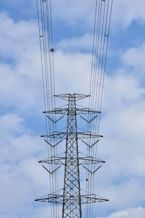 Electrical tower in field under blue sky Stock Photo - 11281637