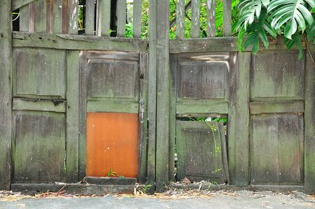 Wooden door of old barn photo
