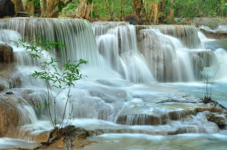 himlen: Hui Mea Khamin Vattenfall, Kanchanabury, Thailand Stockfoto
