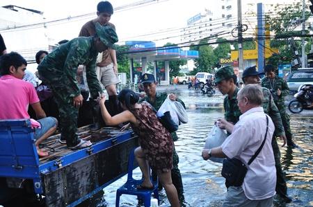 BANGKOK, THAILAND - NOVEMBER 04 : Heavy flooding from monsoon rain in Ayutthaya and north Thailand arriving in Bangkok on November 04,2011 Bangkok, Thailand, At Senanikom 2 Paholyothin Rd.