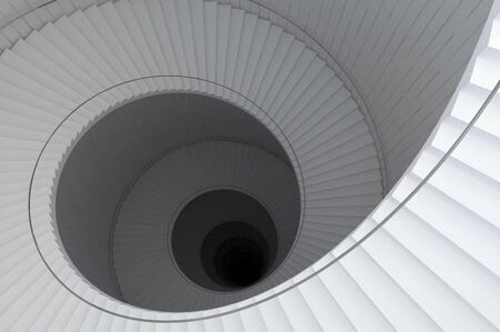 descend: A 3d illustration of a spiral stair to the infinity