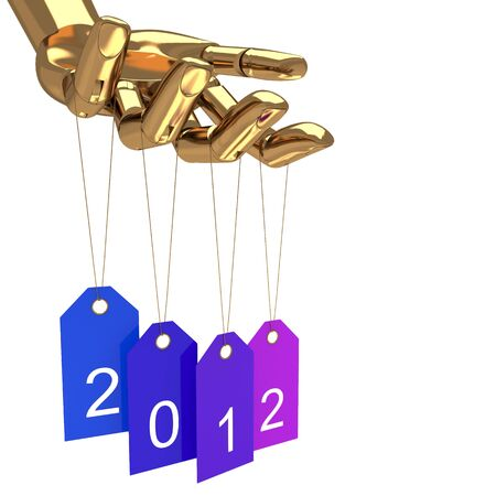 Happy new year tags and gold hand, abstract art illustration Stock Illustration - 11708393