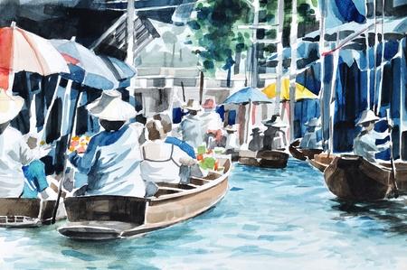 floating market: Original hand draw, Floating market