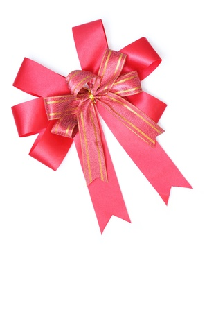 Red satin gift bow. Ribbon. Isolated on white for valentine day photo