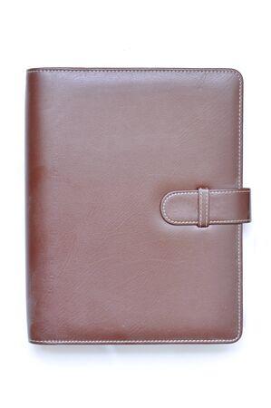 Leather organizer on white background Stock Photo - 11836521