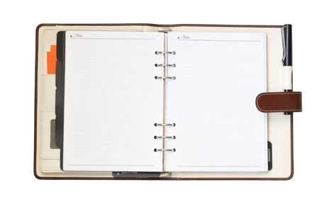Leather organizer on white background, with paths Standard-Bild