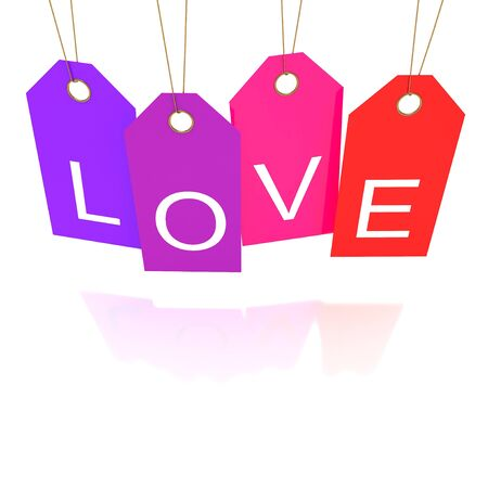 Valentine day tags reflected, abstract vector art illustration illustration