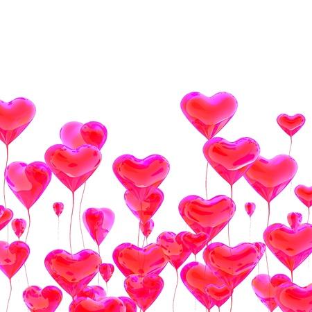 palloncino cuore: Cuore rosso palloncino colorato per sfondo giorno di San Valentino Archivio Fotografico