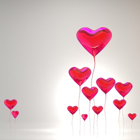 happy birthday heart shapes: Heart balloon colored red for valentines day background Stock Photo