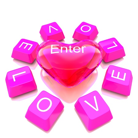 Button of computer keyboard and Transparent red color heart showing concept photo