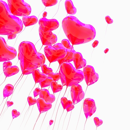 Heart balloon colored red for valentines day background Standard-Bild