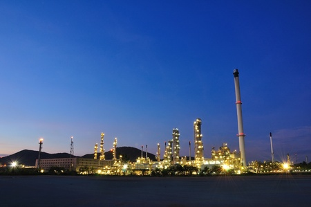 Petrochemical plant on twilight photo