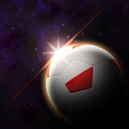 Flag on 3d football with rising sun illustration illustration