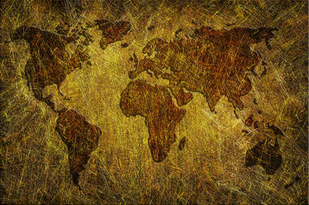 Global map on grunge textured photo