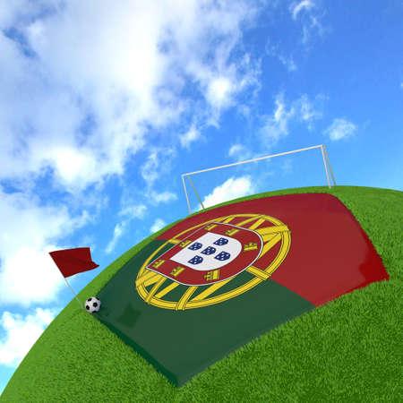 drapeau portugal: Portugal flag sur le football 3d