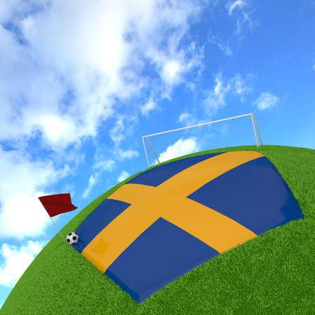 sweden flag: Bandiera della Svezia sul gioco del calcio 3d Archivio Fotografico