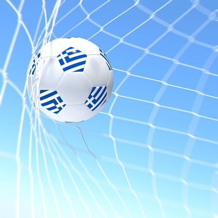 3d rendering of a Greece flag on soccer ball in a net photo