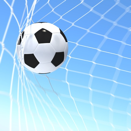 3d rendering of a XXX flag on soccer ball in a net photo