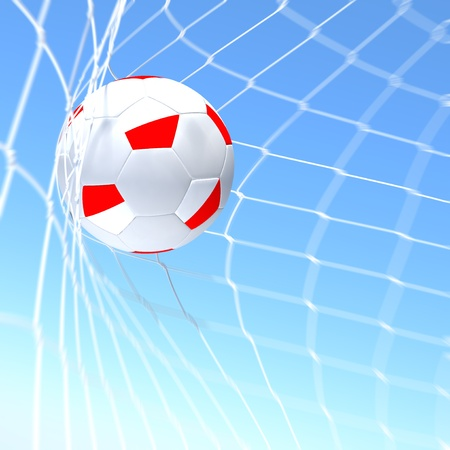 3d rendering of a Greece flag on soccer ball in a net Stock Photo - 12857069
