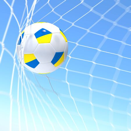 3d rendering of a XXXXX flag on soccer ball in a net photo