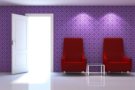 3d interior scene of a red couch on white classic wall photo