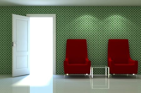 3d interior scene of a XXX couch on XXX classic wall photo