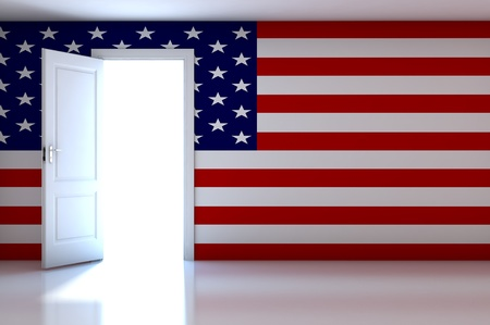 Flag on empty room photo