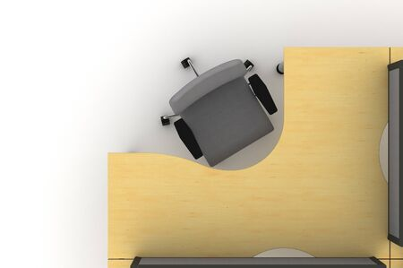 Workstation table-3d illustration  illustration