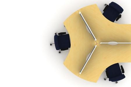 Workstation table-3d illustration  illustration