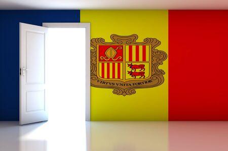 Andorra Flag on empty room photo